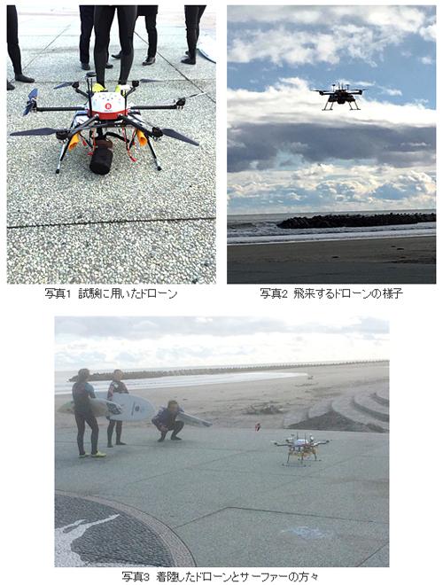 配送先をサーフィンのメッカである福島県南相馬市の北泉海水浴場に設定し、ドローンが現地のサーファーに温かい飲物を届ける飛行実証試験の様子